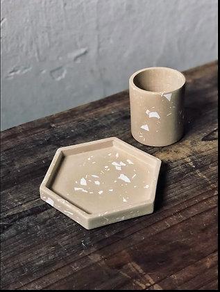 Handmade Hexagonal Trinket Tray - Nude with White Terrazzo