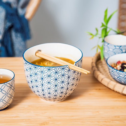 Sashiko Pattern Noodle Bowl with Chopsticks