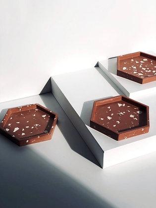 Handmade Trinket Tray Hexagonal -  Terracotta with White Terrazzo.