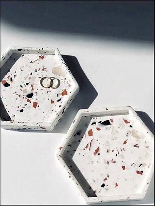 Handmade Hexagonal Trinket Tray - White, Caramel & Dark Chocolate Terrazzo