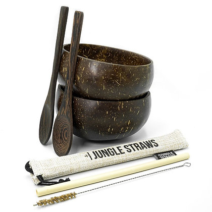 Coconut Bowl Set W/Wooden Spoons + Bamboo Straw - Classic