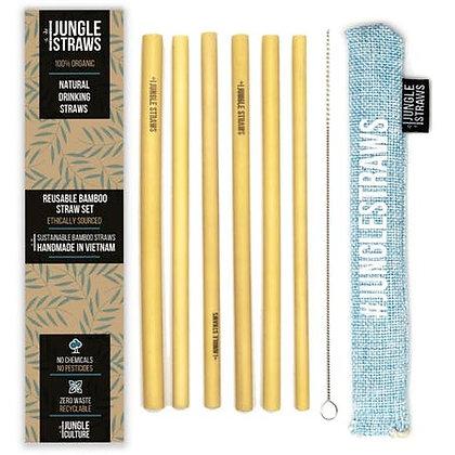 Jungle Straws: Reusable Bamboo Drinking Straws (SET OF 6)