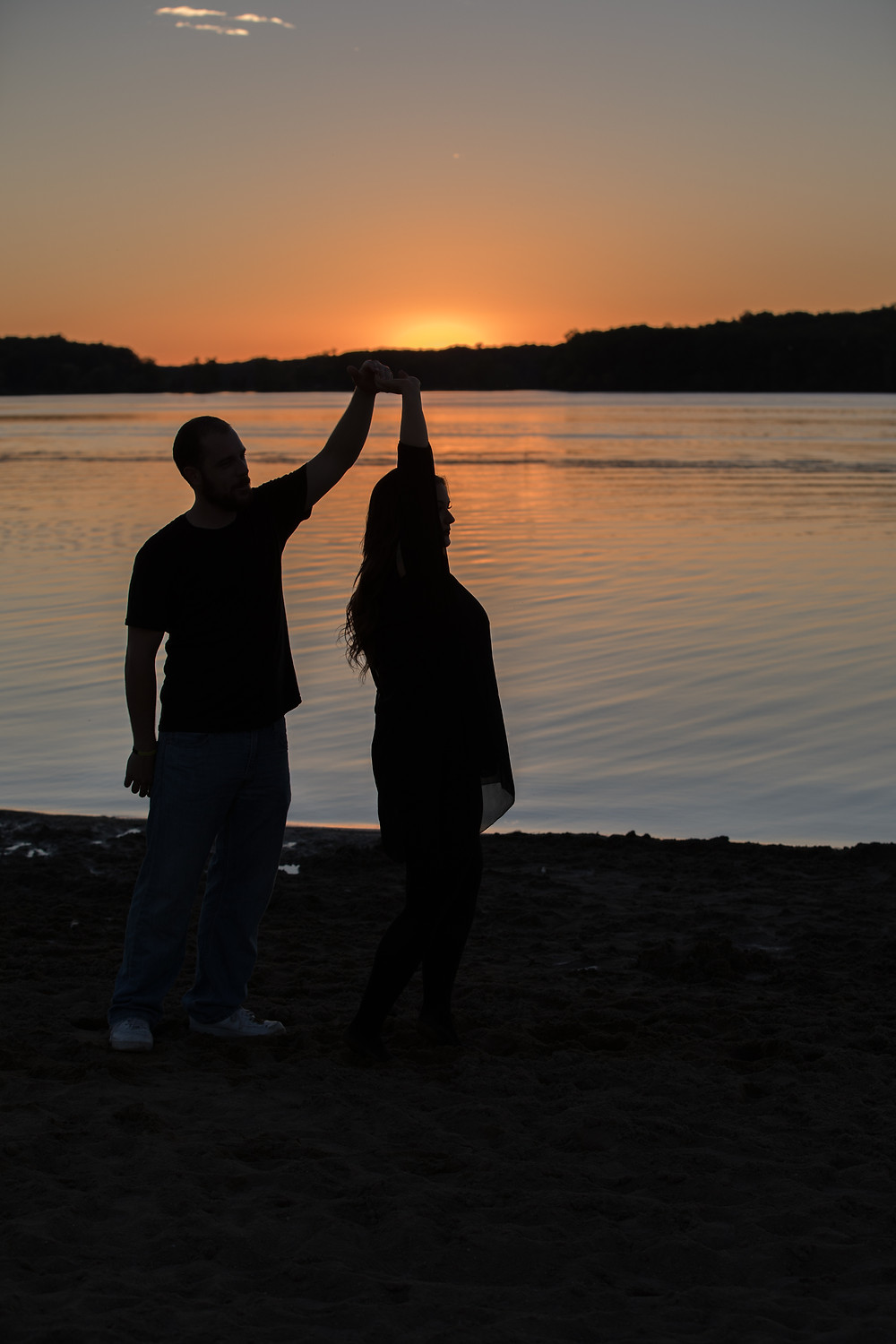 Michigan Sunset Silhouette Engagement Session