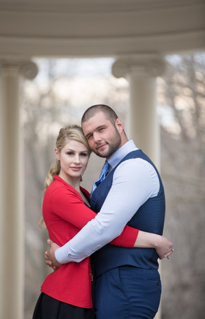 Sarah & Nick's Engagement Session at a Secret Greek Pavilion