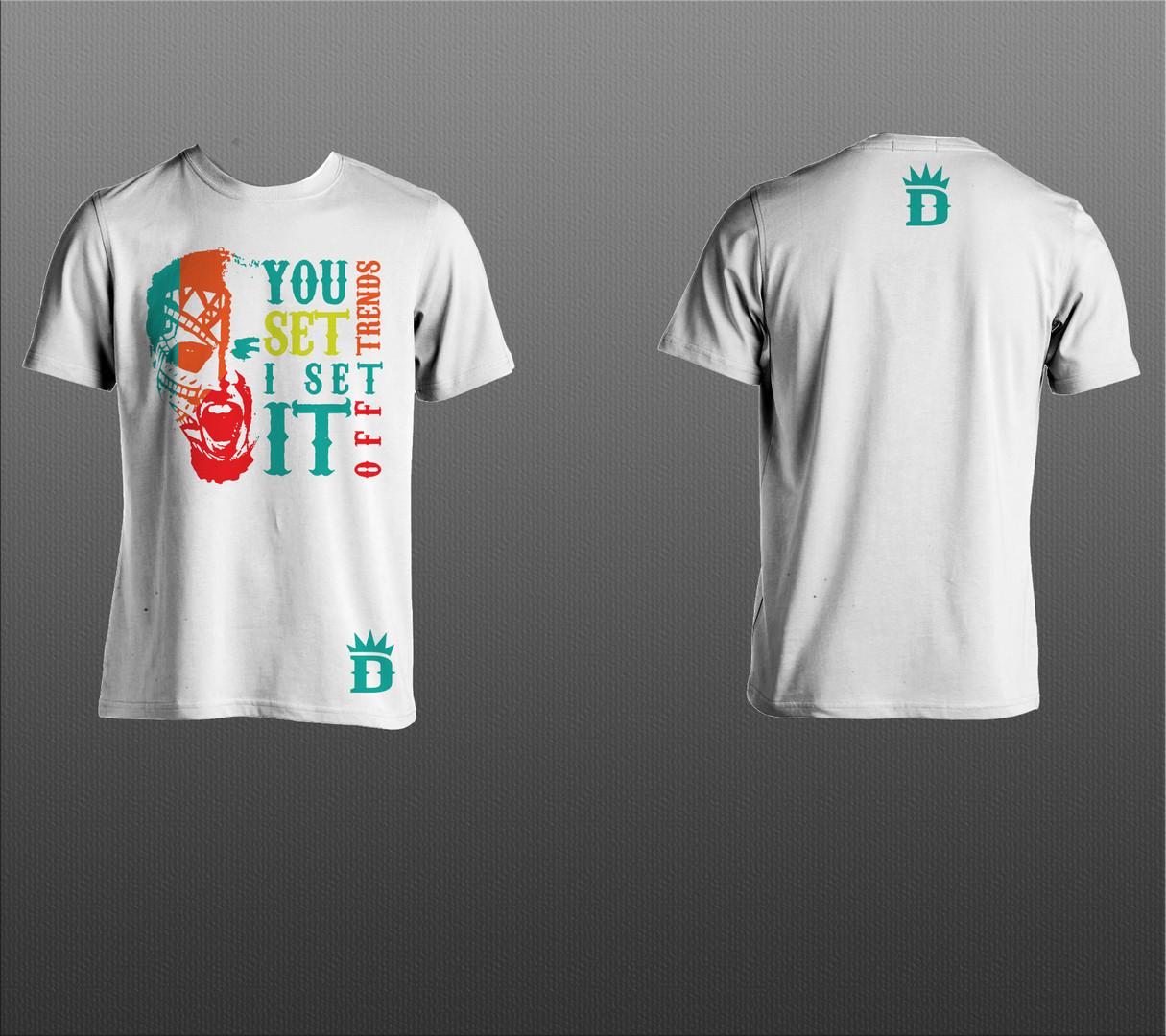 """White """"I Set It Off"""" Design T-Shirt"""