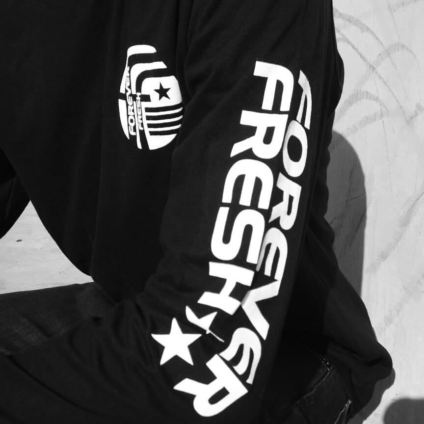 """Black """"Forever Fresh"""" Design Long Sleeve T-Shirt"""