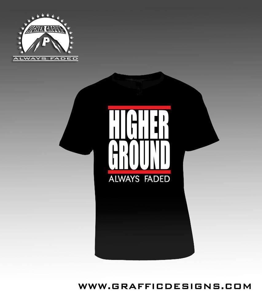 """Black """"Higher Ground"""" Design T-Shirt"""