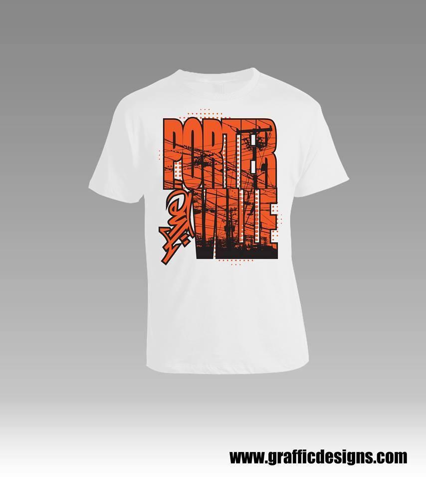 """White """"Porterville"""" Design T-Shirt"""