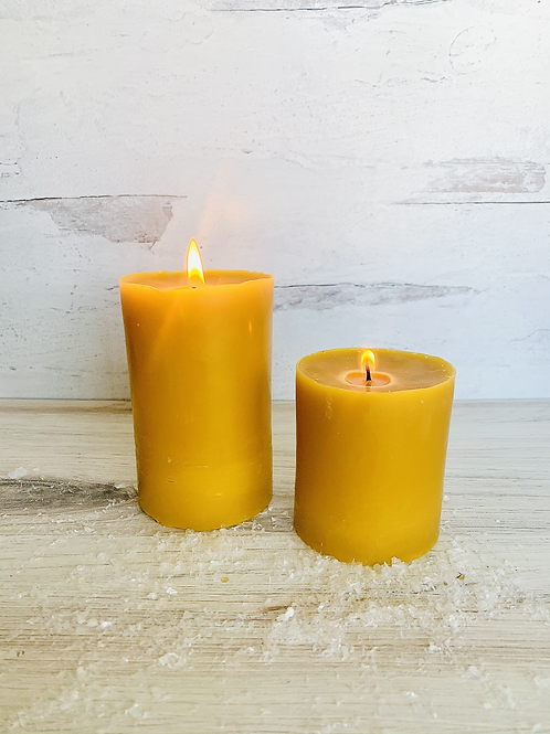 Pure Beeswax Pillar Candles - Large