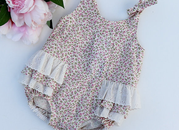 3-6 Months Small Pink Flowers Romper