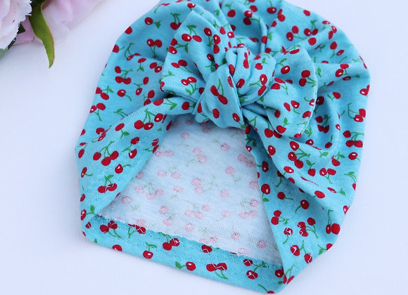 Blue Red Cherry Turban (Removable Bow)