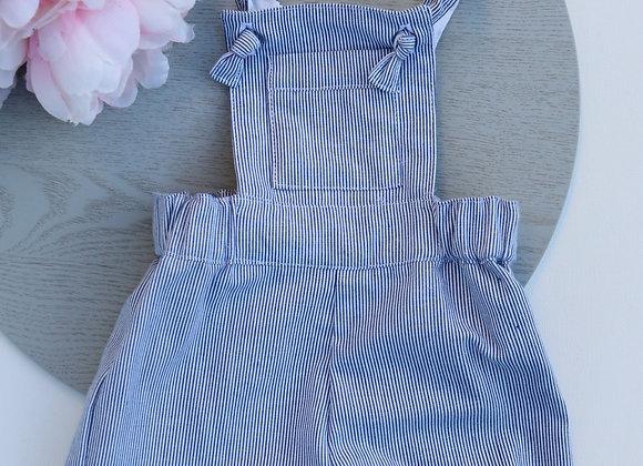 0-3 Months White/ Blue Stripe Overalls
