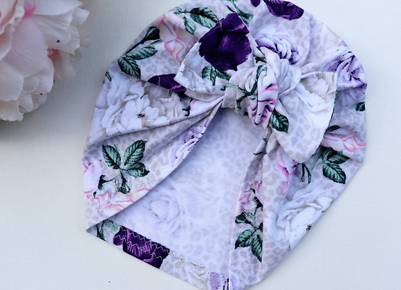 Purple Roses Turban ( Removable bow)
