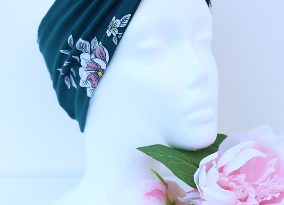 Teal/White Flowers Wide Head Ties