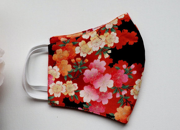 Pink/Orange/Black Flowers Reusable Mask/Face Covering