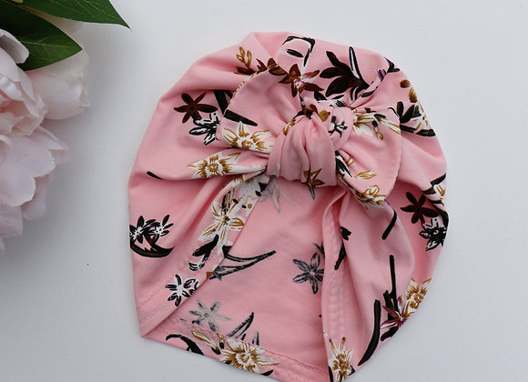 Pink/White Flowers Turban (Removable Bow)