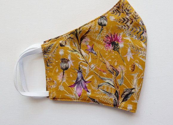 Mustard/Flowers Adult Reusable Mask/Face Covering