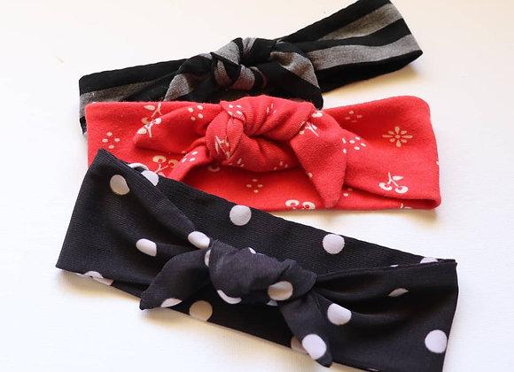 Black Polka Dot Newborn Head Tie sets