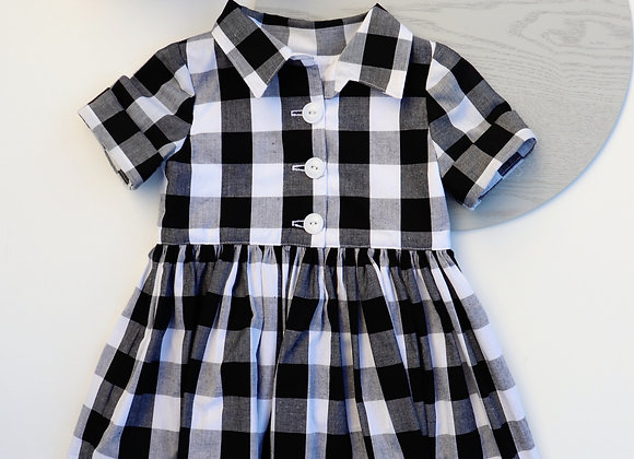 2 Yrs Black Checked Collared Dress