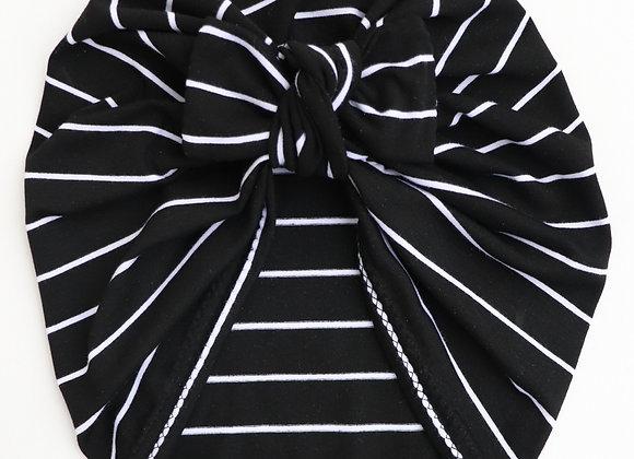 Black&White Stripe Turban (Bow Removable)