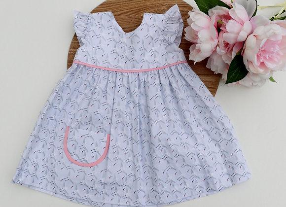 6-12 Months White Bird Flutter Sleeves Dress