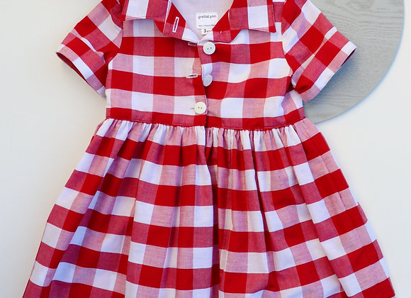 3 Yrs Red Checked Collared Dress
