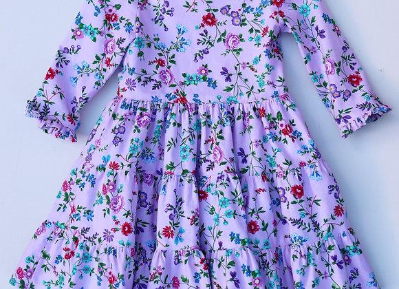 3 Yrs Pinky/Purple Flower 3 tier Dress