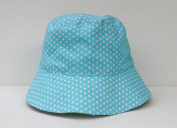 0-3Months Blue Polka Dots Hat (Reversible to Owls)