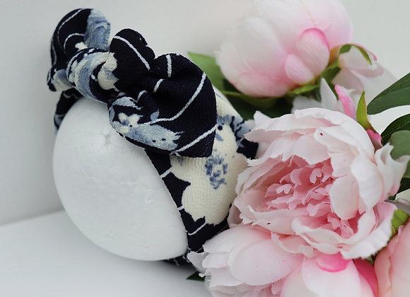 Navy Stripe White Flowers Head Ties