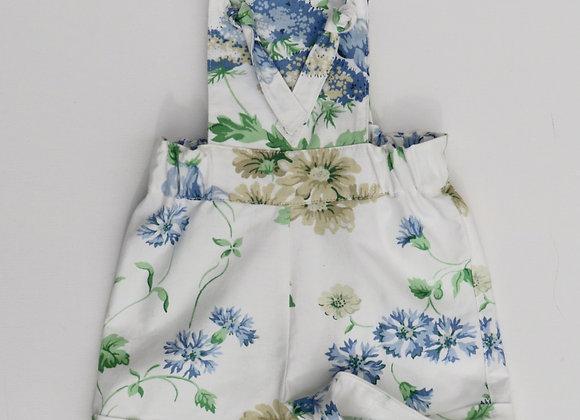 3-6 Months Blue/White Flower Overalls