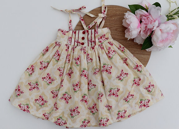 18-24 Months Cream Pink Flower Strappy Dress