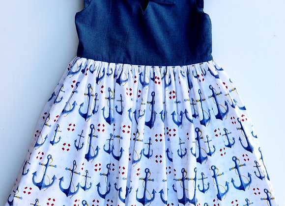 4Yrs Blue Anchor Party Dress