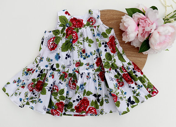 18-24 Months Red/Blue Flowers Flared Dress