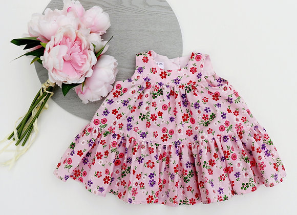 0-3 Pink/Purple Flowers Flared Dress