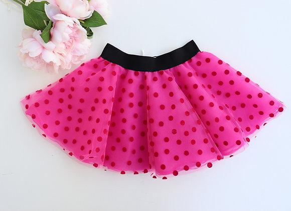 Bright Pink Polka Dot Rock N Roll Skirt