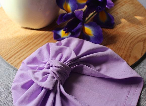 Lilac Purple Turban (Removable Bow)