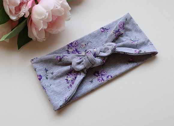 Purple Flowers Bow/knotted Wide Head Ties