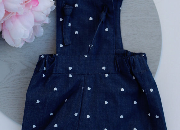 0-3 Months Blue/White Hearts Overalls