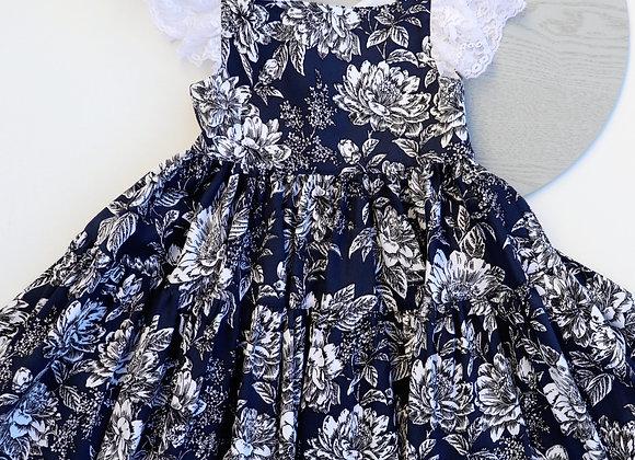 4 Yrs Navy/White Flowers Square Neckline Dress