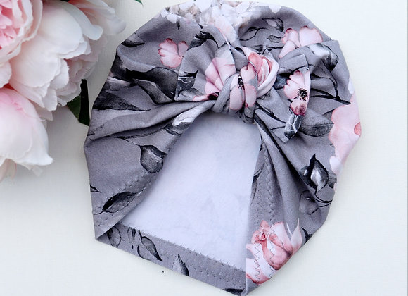 Soft Pink/Grey Flowers Turban ( Removable bow)