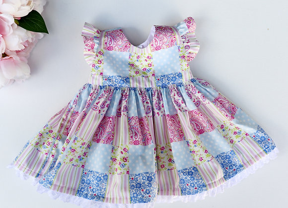0-3 Months Pink Paisley squaresFlutter Sleeves Dress