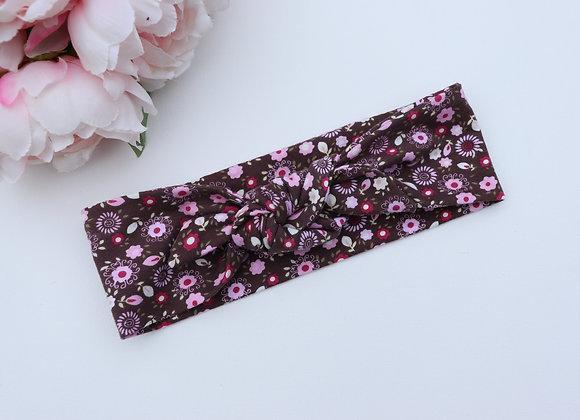 Vintage Brown/Pink Flowers Head Ties