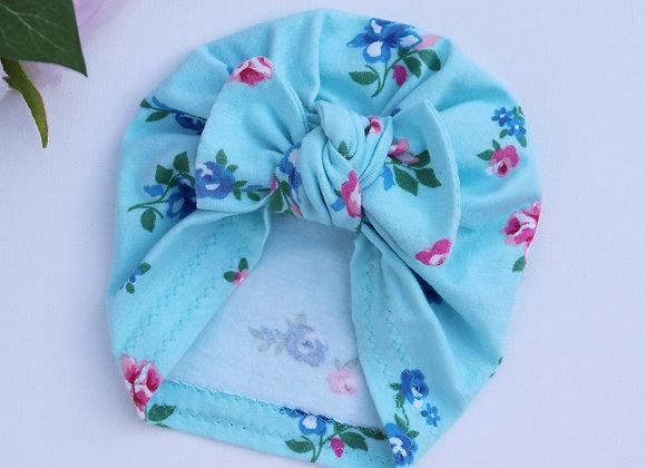 Vintage Blue Flowers Turban