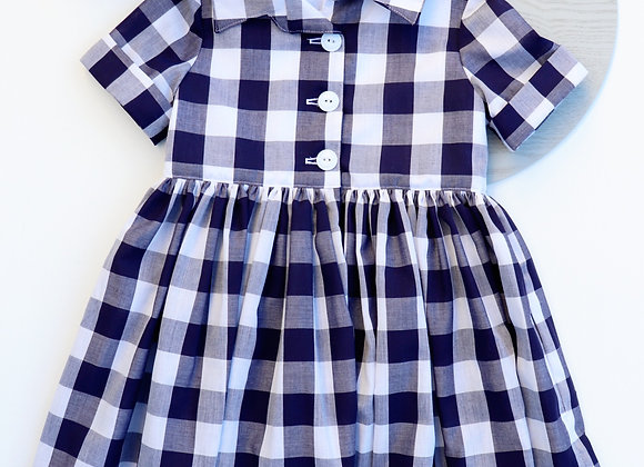 4 Yrs Navy Checked Collared Dress