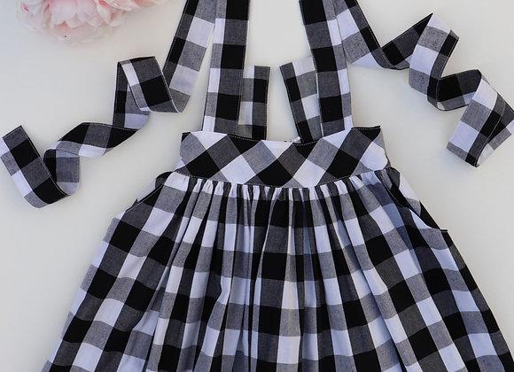 5 Yrs Black/White Checked Overall Skirt