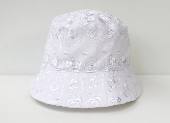 0-3 Months White Flower Hat (Reversible to White)