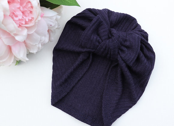 Navy Knit Turban ( Removable bow)