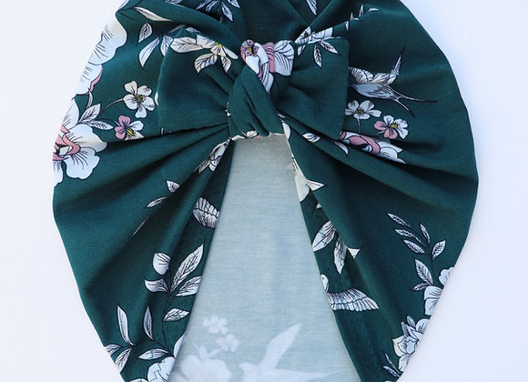 Teal Green & Flowers Turban (Bow Removable)