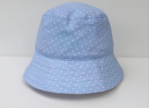 3-9 Months Light Blue Polka Dots Hat (Reversible to Unicorns)