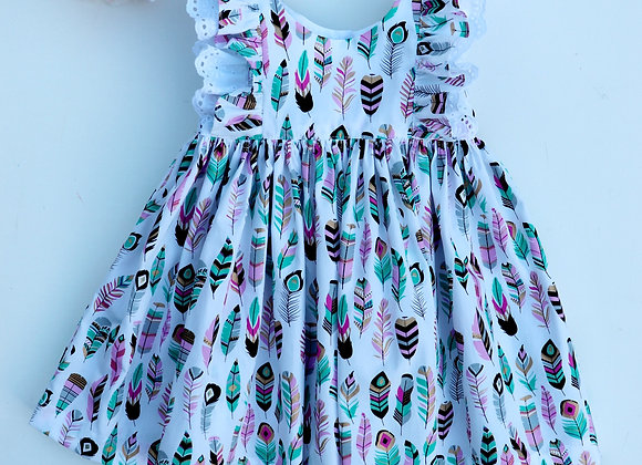 6-12 Months Feathers Double Flutter Sleeves Dress